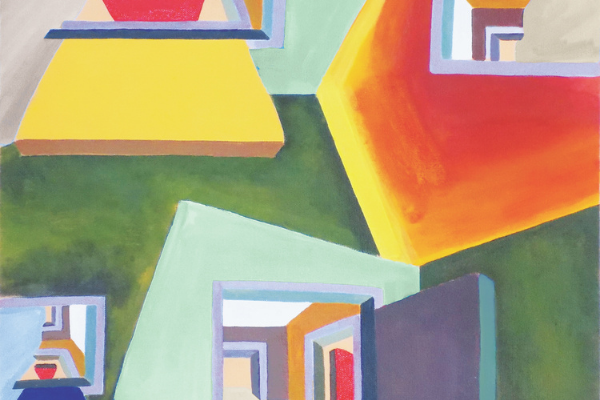 Colorful abstract rooms of greens, yellows, and oranges