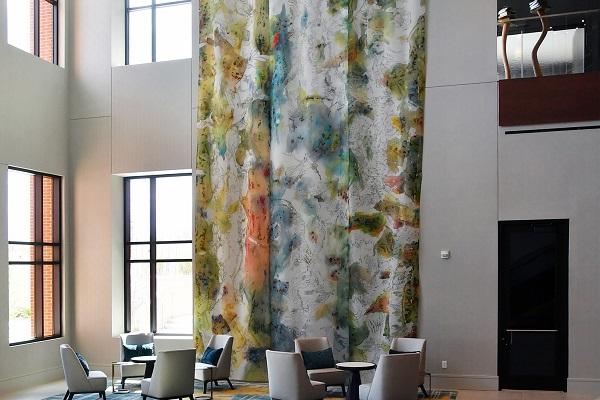 installation of Maja Godlewska's fabric paintings