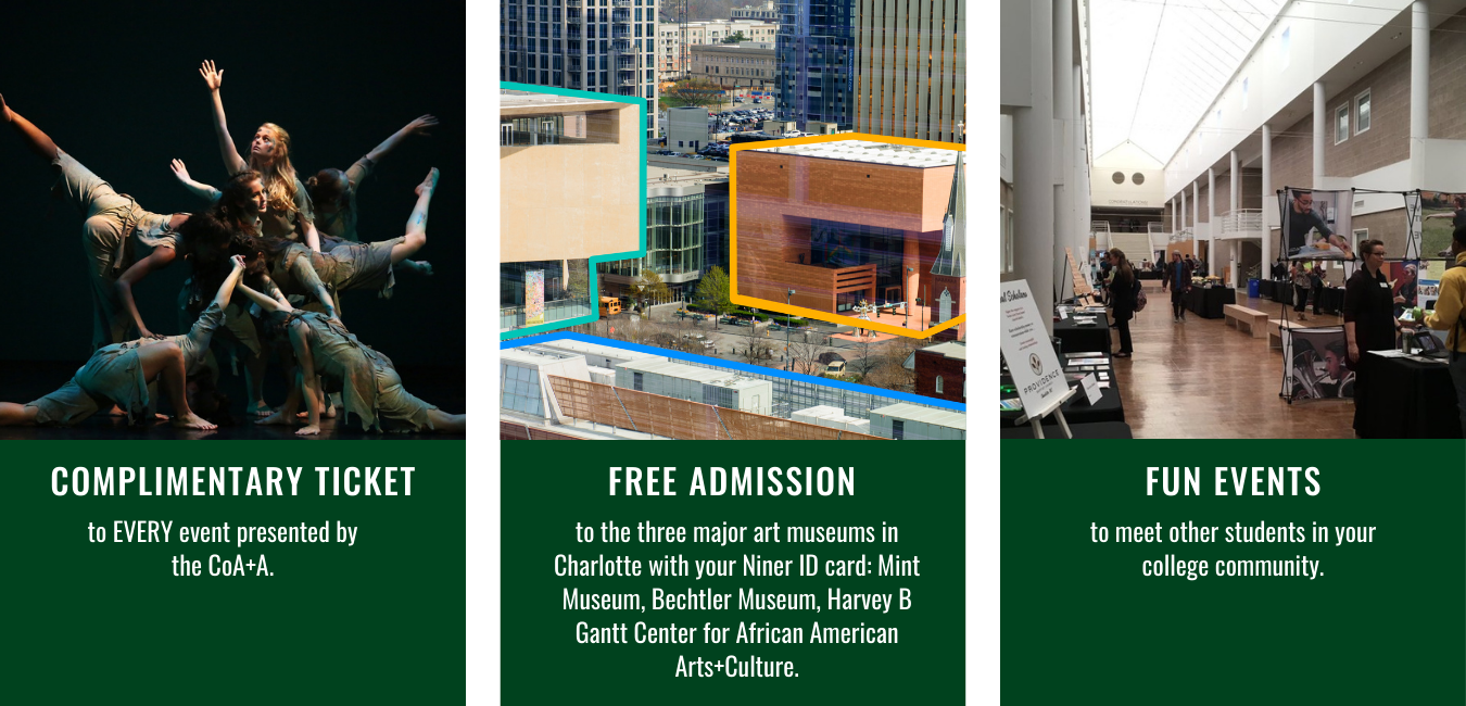 49er Arts Link Perks: Includes free tickets to CoA+A events, free admission to the top three Charlotte museums, and fun events