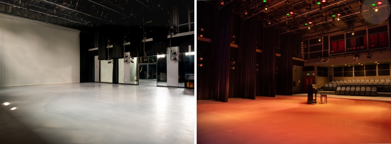two views of our robinson hall studio, one as a practice space, one as a performance space
