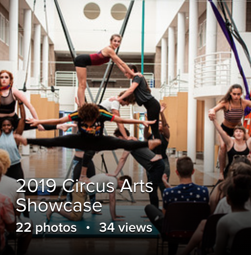 students in circus poses