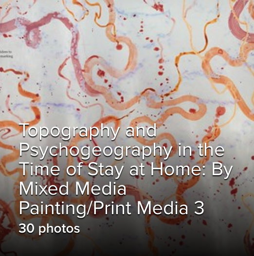 orange and pink paint on background with gallery title