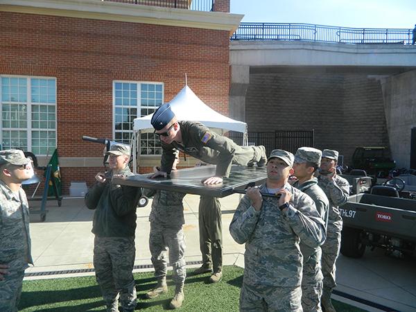 cadet does push-ups on platform