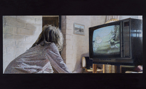 painting of girl watching TV