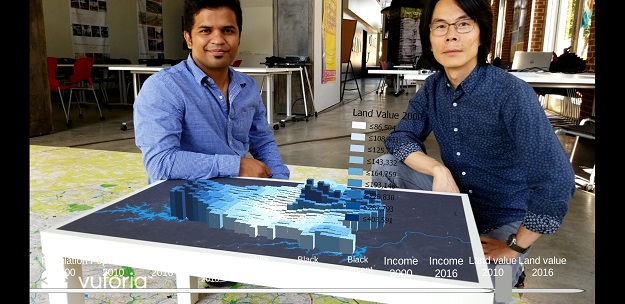 Ankit Kelkar and Ming-Chun Lee with AR mapping