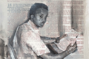 art by Charles Williams: oil and graphite on Bible page