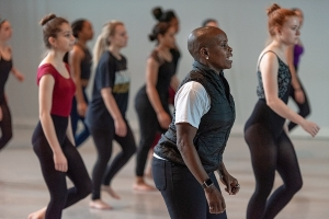 Hope Boykin with dance students