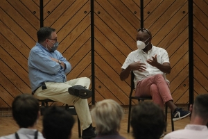 Will Campbell and Branford Marsalis on stage in Rowe Recital Hall