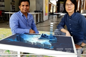 Ankit Kelkar and Ming-Chun Lee with the augmented reality mapping project at the Powerhouse Studio.