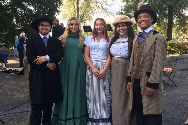 students in costume at Spoon River performance