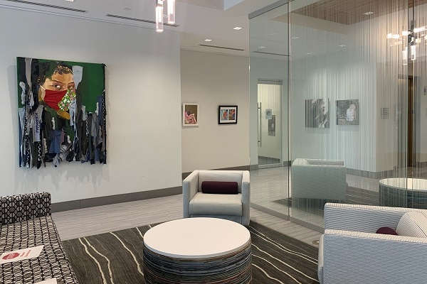 lobby of Novant SouthPark Family Practice with art on walls